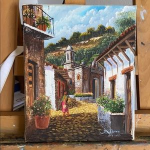 Oil on Canvas Painting of Spanish Village 8 x 10